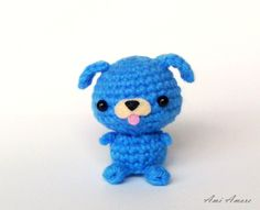 Crochet Amigurumi Mini Blue Puppy.