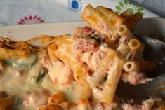Creamy Chicken Ziti Casserole by Who Needs A Cape Chicken Ziti, Creamy Chicken, Chicken Broccoli, Tomato And Cheese, Spinach And Cheese, Italian Main Dishes, Italian Foods, Chicken Stuffed Peppers, Great Recipes