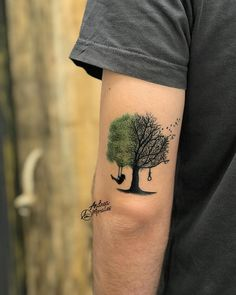 Perfect tattoo art of Tree with Swing motive, done by Andrea Morales