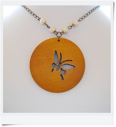 Butterfly Wood Carved Disc Necklace with Glass Pearls