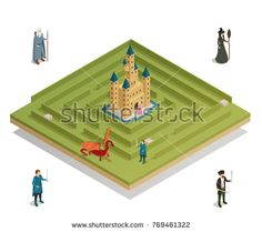 Stock Vector: Fairy tale labyrinth game with medieval castle witch soldier knight and dragon figures isometric composition vector illustration