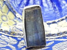 Rough Kyanite & Sterling Silver 925 Unusual Statement Ring (+Gift Bag) (UK)