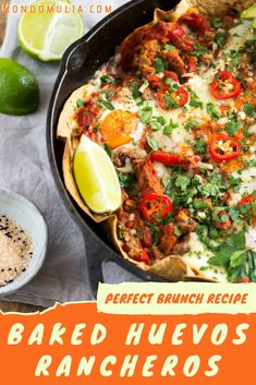 huevos rancheros - the perfect brunch recipe. Mexican dish of eggs on tortilla with black beans, cheese, refried beans, and avocado. Make baked huevos rancheros at home. Mexican Brunch, Mexican Breakfast Recipes, Easy Brunch Recipes, Healthy Brunch, Mexican Dishes, Egg Recipes, Mexican Food Recipes, Breakfast Ideas, Mexican Eggs