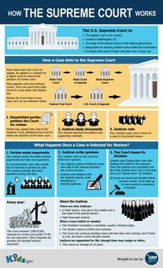This Kids.gov poster explains how cases reach the Supreme Court, how the Justices make their decisions, and how new Justices are appointed. Government Lessons, Teaching Government, Us Government, Social Studies Classroom, Teaching Social Studies, Teaching History, Teaching Economics, Economics Lessons, Us History