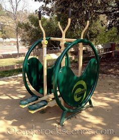 Adult playground full of outdoor exercise equipment. ~WOW! how nice!