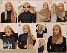 How to wear Hijab – Latest Hijab Styles - Style N Tips Simple Hijab Tutorial, Hijab Style Tutorial, How To Wear Hijab, How To Wear Scarves, Islamic Fashion, Muslim Fashion, Ethnic Fashion, Conservative Fashion, Photo Print