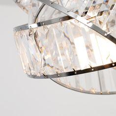 Hudson Pendant Shade in Chrome and Clear Glass Pendant Shades, Drum Pendant, Ceiling Pendant, Glass Pendants, Metal Drum, Metal Bowl, Rectangular Lamp Shades, Ceiling Shades, White Lamp Shade