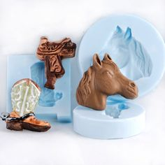 Cowboy boot Saddle and Horse Head Silicone mold by MoldMeShapeMe, $12.95
