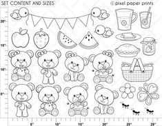 Picnic Bear Digital stamps by pixelpaperprints on Etsy Coloring Books, Coloring Pages, Japanese Embroidery, For Your Party, Photoshop Elements, Digital Stamps, Baby Quilts, Art Images, Doodles