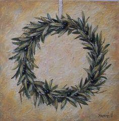 Στεφάνι από ελιά II – Χαραυγή Decoupage, Mosaic, Arts And Crafts, Clay, Flowers, Olives, Painting, Jewelry, Illustrations