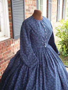 midnight blue cotton civil war dress