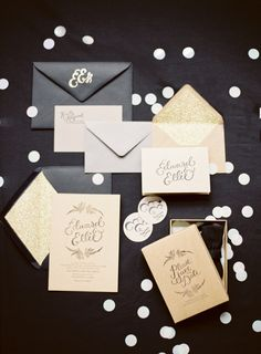 Gorgeous black and gold wedding invitations! Read more - http://www.stylemepretty.com/2013/09/11/10-ways-to-pretty-up-your-wedding-with-calligraphy/