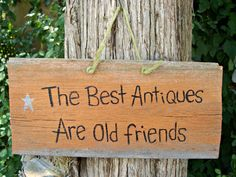 THE BEST ANTIQUES  Barn Wood  Sign Hand Painted by WallworxxEtc,