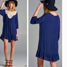 Gauze Crochet dress 100% Rayon. Navy crochet dress. PRICE FIRM UNLESS BUNDLE❗️ Dresses Long Sleeve
