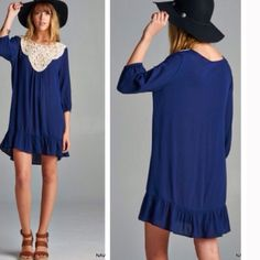Gauze Crochet dress 100% Rayon. Navy crochet dress. PRICE FIRM UNLESS BUNDLE❗️ Dresses Long Sleeve
