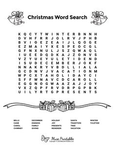 Free printable Christmas word search puzzle in PDF format. Christmas Word Search Printable, Free Christmas Printables, Free Printables, Christmas Worksheets, Christmas Activities For Kids, Christmas Words, Kids Christmas, Christmas Games, Free Printable Word Searches