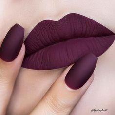 Beauty Makeup Trends Tips - Dark Purple Matte Lip Color And Almond Nail Color - . - Beauty Makeup Trends Tips – Dark Purple Matte Lip Color And Almond Nail Color – Beauty Makeup - Lip Gloss Colors, Matte Lip Color, Lipstick Colors, Makeup Lipstick, Lip Colors, Matte Lipstick Shades, Dark Purple Lipstick, Fall Lipstick, Velvet Lipstick