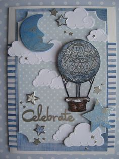 A beautiful baby card celebrating a new baby boy by Karen Session using our Sapphire Color Ways Collection Sapphire Color, New Baby Cards, New Baby Boys, Hot Air Balloon, Diy Cards, Beautiful Babies, Homemade Cards, New Baby Products, Balloons