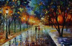 Winter Park Painting by Leonid Afremov