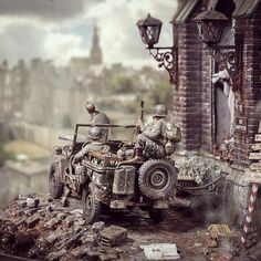 "Fantastic!!! ""Saints&Sinners"" diorama. Modeler Marcus Nieminen #scalemodel Fine ww2 modelling with wicked use of selective background depth of field"