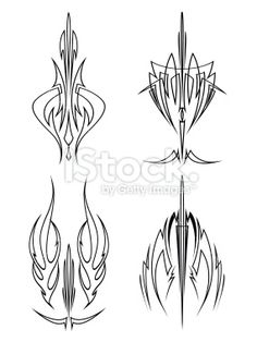 Sword Brush Pinstriping Designs Royalty Free Stock Vector Art Illustration