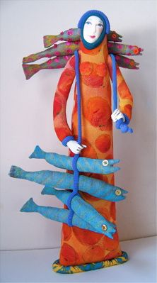 Jennifer Gould Designs::All-Fabric Contemporary Dolls the fish seller art doll textile art Fabric Dolls, Fabric Art, Cloth Art Dolls, Art Fil, Tilda Toy, Art Brut, Textiles, Toy Art, Paperclay
