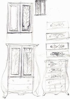 Schita pentru decor dulapuri linii curbe