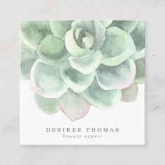 Botanical Sage Green Watercolor Succulent Beauty Square Business Card Create Business Cards, Square Business Cards, Beauty Business Cards, Salon Business Cards, Artist Business Cards, Watercolor Business Cards, Watercolor Cards, Watercolor Paintings, Watercolor Ideas