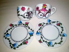 A set of two coffee cups, hand painted with a girl and a boy on bicycles. Coffee Set, Coffee Cups, Tea Cups, Hand Painted Ceramics, Ceramic Mugs, Bicycles, Decorative Plates, Tableware, Painting