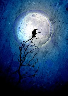 "Fell in love with this print, then when searching for it again found out that ""The Crow and the Moon"" is a common theme for artists."