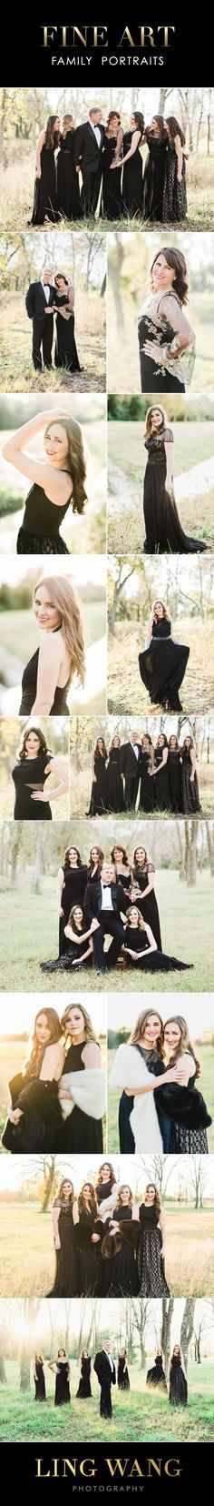 Fine Art Family Portraits  - Group posing ideas for Mature older Families - Ling Wang Photography