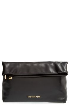 MICHAEL Michael Kors 'Daria' Leather Foldover Clutch available at #Nordstrom