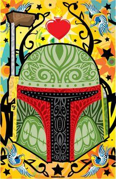Boba Fett sugar skull - Star Wars - CuddleswithCats.deviantart.com