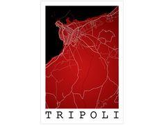 Tripoli Street Map Tripoli Libya Modern Art Print