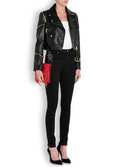 Discover Italian eccentricity with the collection from Boutique Moschino. Featuring a number of retro and contemporary designs from a designer brand. Italian Designer Brands, Boutique Moschino, Contemporary Design, Branding Design, Black Jeans, Leather Jacket, Zip, Retro, Pants