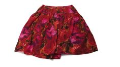 LIZ & ME Womens Pretty RED Black Fuchsia Purple Floral Cotton Skirt plus Size 2X #LizMe #FullSkirt