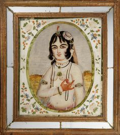 reverse-glass paintings in mirrored frames, depicting a maiden holding a pomegranate Persia, mid-19th Century