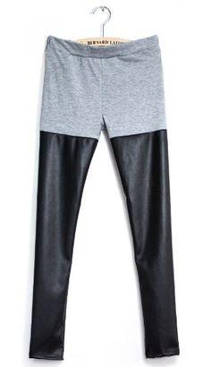 Grey Contrast Black PU Leather Legging