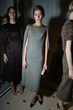 Grey Cape dress: Backstage at Valentino Couture: fall 2013