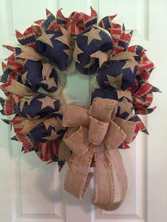 Patriotic wreath, americana wreath, fourth of july wreath, of Patriotic Wreath, Patriotic Crafts, Patriotic Decorations, July Crafts, 4th Of July Wreath, Flag Wreath, Burlap Crafts, Wreath Crafts, Diy Wreath
