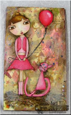 Pez-A-Doodle Designs- Little girl and her cat