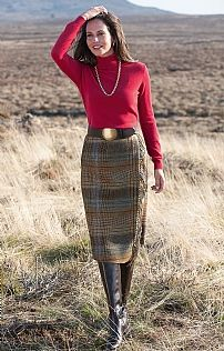 Fringed Asymmetric Tweed Skirt