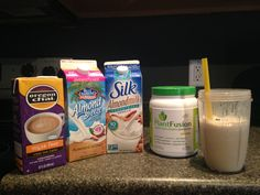 Vegan protein shake- 4oz 30 cal almond milk, 4oz 45 cal almond/coconut blend, 2-4 oz sugar free chai tea, 1 scoop vanilla bean plant fusion protein, crushed ice- mix well with nutribullet!!
