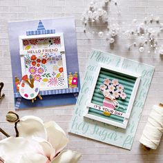 A pocket full of scrap: In the spotlight: Spellbinders Small and Large Die of the Month kits - August 2020 Orange Paper, Pink Paper, Spellbinders Cards, Die Cut Cards, Travel Themes, Card Kit, Pattern Paper, Birthday Cards, Craft Projects