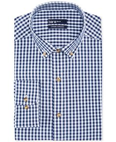 Reg $57.50 Bar III Carnaby Collection Slim-Fit Navy and White Gingham Dress Shirt - Dress Shirts - Men - Macy's