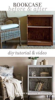 How to turn an old thrift store bookcase into a custom night stand using trim paint and wallpaper. on a DIY budget! How to turn an old thrift store bookcase into a custom night stand using trim paint and wallpaper. on a DIY budget! Furniture Bookshelves, Diy Furniture Easy, Furniture Makeover, Diy Home Decor, Bedroom Furniture Makeover, Furniture Projects, Home Furniture, Upcycled Furniture Diy, Bookshelves Diy