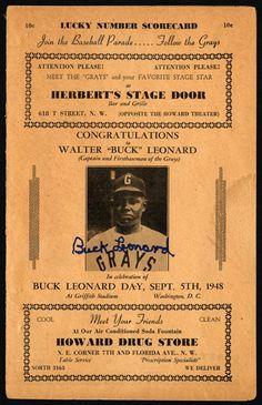 1948 Homestead Grays Final Game Buck Leonard Day Program