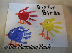 Make a letter B handprint craft with handprints and fingerprints using nontoxic paint.