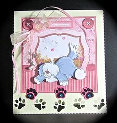 Dogs unconditional love card with decoupage on Craftsuprint designed by Angela Wake - made by Cynthia Massey -