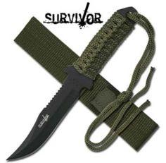 Military Survival Knife / Survivor Etch / Clip Point Blade